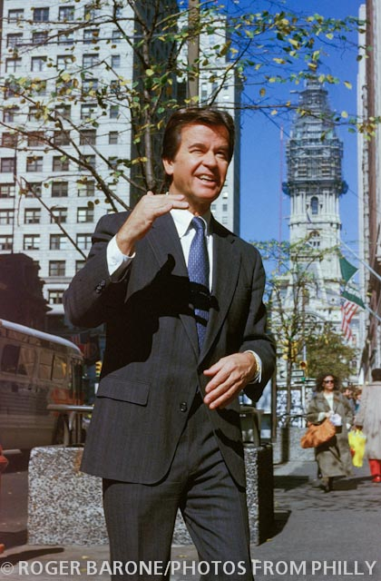 Dick Clark walking downtown Philly