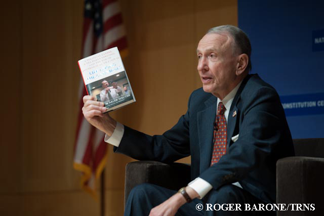 Arlen Specter holding his new book at Philadelphia author event © roger barone