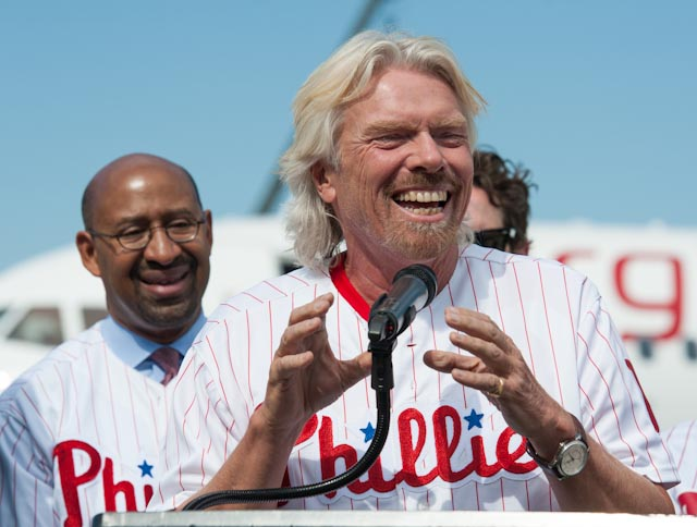 sir richard branson celebrates philadelphia arrival of virgin airlines © roger barone 2012